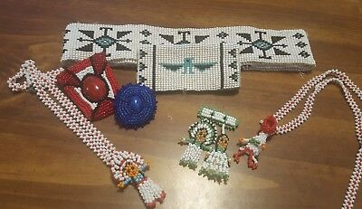 1960s Vintage Lot of Native American Seed Bead Necklaces,Pins, Pendants, Belt