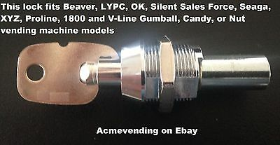 LOCK & KEY for BEAVER, OK, LYPC, or Seaga Gumball Candy or Nut Vending Machine