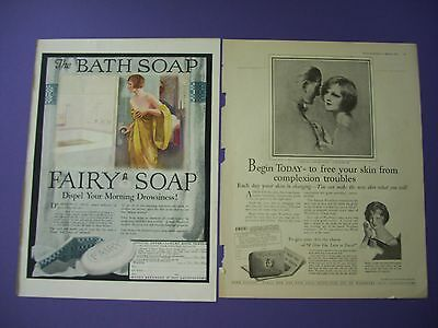 2 Big 1920's Print Ads:Fairy Soap & Woodbury's