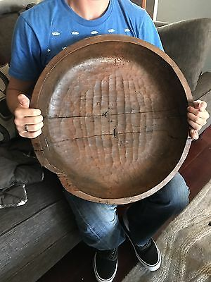 """Antique  Early American Primitive Wooden Large 20"""" Farm Bowl Loving Repairs"""