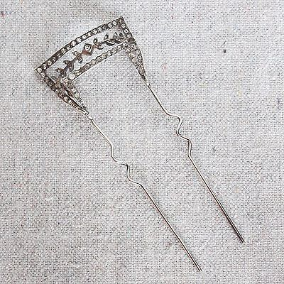 Antique Edwardian Sterling Silver Paste Wedding Hair Comb Pick Barrette Tiara