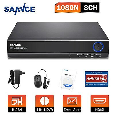 SANNCE 1080N Resolution 4in1 8CH Security DVR Record Motion Email HDMI Real Time
