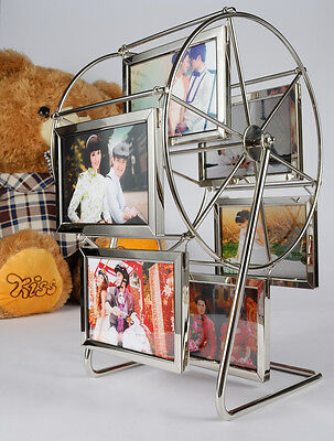 "Revolving Rotating Spinning Ferris Wheel 5"" Picture Frame 3R Silver Photo Gift"