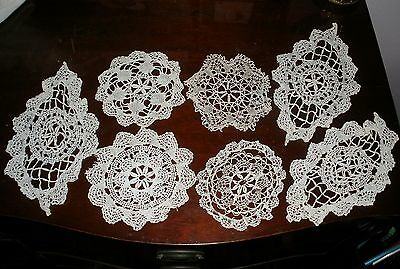 """Vtg Lot 7 Small Hand Crocheted Round&oval Table Top 3""""To 5.25""""White&ecru Doilies"""