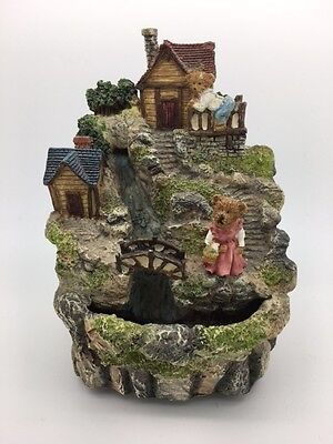 Resin Bear Village with Two Bears/Houses and One Bridge