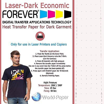 "FOREVER Laser-Dark Economy Heat Transfer Paper Laser Printer 8.5""X11"" 10 SHEET"