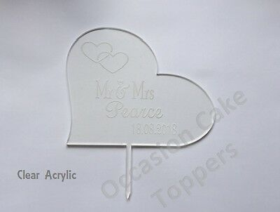 Personalised Wedding Cake Topper Mr & Mrs Surname Date Clear Acrylic Gold Mirror