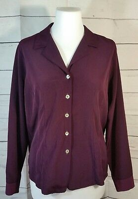 Vintage Pariscope Large Eggplant Purple Shell Button Blouse Long Sleeves Career