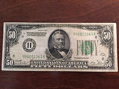 """1928A $50 Gold Note """"h"""" St. Louis Federal Reserve Note"""