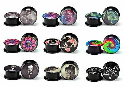 Pair of Black Acrylic Screw On Picture Plugs gauges Choose Your Design/Size BAP1