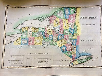 1824 ENGRAVED MAP OF New York STATE SHOWING INCOMPLETE Erie Canal AND MORE SO FI