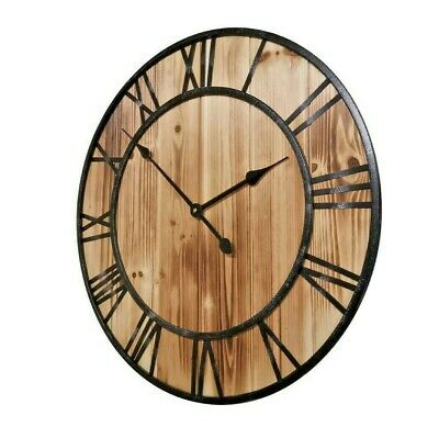 60cm Large Metal Frame Wooden Wall Clock Rustic French Provincial Luxury Art