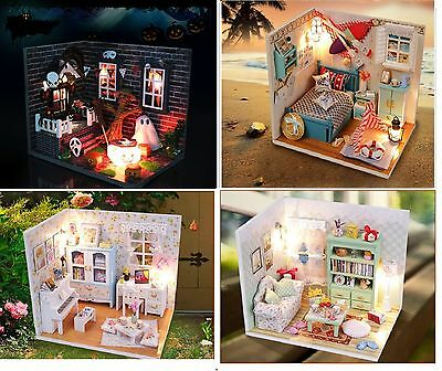 Mini Doll House DIY Model Miniature Room with Light