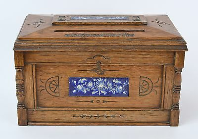 Antique Oak & Ceramic Tile Correspondence Box Answered - Unanswered Letters