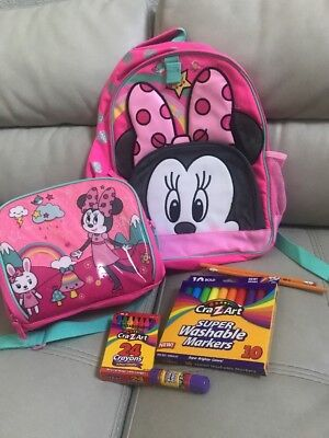 NWT Disney Store Minnie Mouse Backpack + Lunch Box & School Supplies Combo Deal!