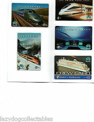 Collectible Australian Phonecard set    TRAINS + sPIRIT OF TASMANIA 1997 Exc Co