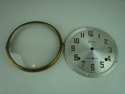 Antique Sessions Mantel Clock Silver Dial Bezel Glass Silent Chime