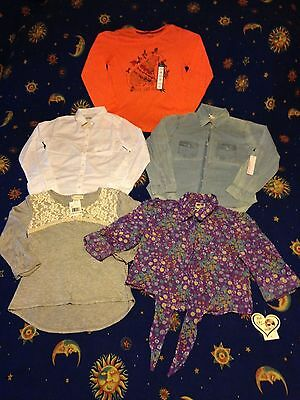 "Lot of 5 Girls shirts NWT sizes M-L 10-12 youth Abercrombie etc ""Back to School"""