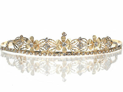 SparklyCrystal Bridal Floral Rhinestone Crystal Wedding Gold Crown Tiara 4652G