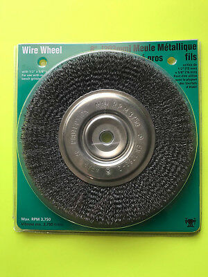 "Wolfcraft 8"" Medium Face Wire Wheele Brush Bench Grinder 1/2"" or 5/8"" Arbor"
