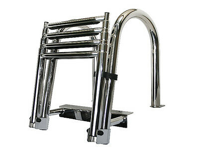 Telescoping Stainless Steel Boat 4 Step Pontoon Ladder Dock Ladder 316 Stainless