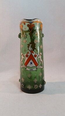 Antique  Glass And  Enamel  Scottish Coat Of Arms Pitcher