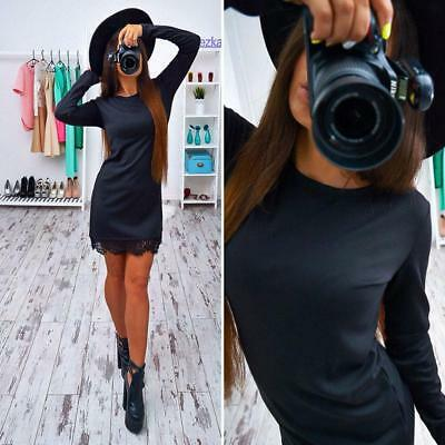 Fashion Women's Long Sleeve Casual Party Evening Cocktail Party Short Mini Dress