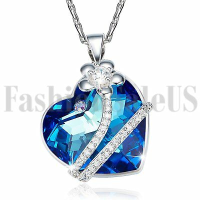 Women's 925 Heart Flower Made with Swarovski Elements Crystals Pendant Necklace