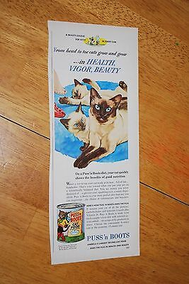 Puss' n Boots Cat Food  1953 February Better Homes and Garden Magazine Ad VG++