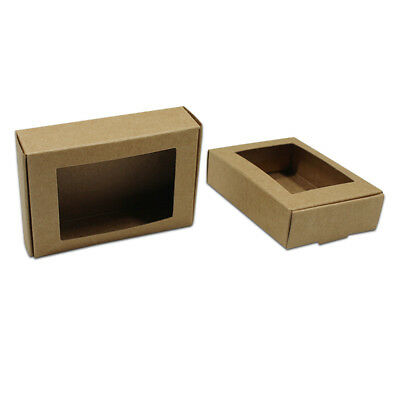 Kraft Paper Box With Square Window Wedding Party Favour Gift Candy Cookies Boxes