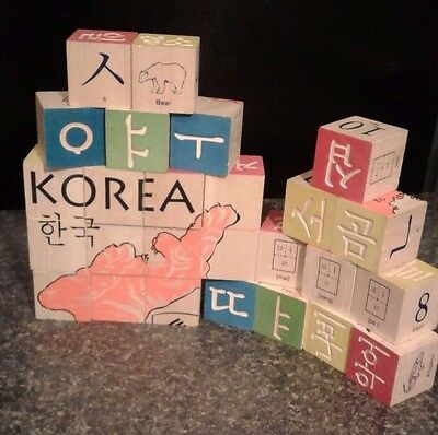Korean character English abc  wooden blocks Uncle Goose - Tiger map