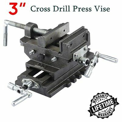 "New 3"" Cross Drill Press Vise X-Y Clamp Machine Slide Metal Milling 2 Way HD EK"