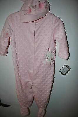 Nwt Vitamins Baby 9 Mos. Baby Girl Pink Bunny Sleeper With Matching Hat