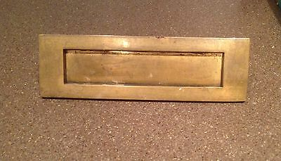 Vintage small  cast brass letter box (2)