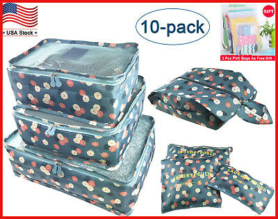 10Pcs Waterproof Clothes Travel Storage Bag Packing Cube Luggage Organizer Pouch