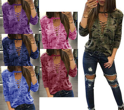 Women's Camouflage Print Top Lounge Shirts Casual Sports
