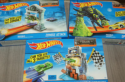 Hot Wheels Play Sets Zombie Attack Spider Slam Or Triple Target Takedown New