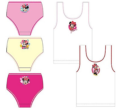 New Girls Minnie Mouse 2 Pack Vests Or 3 Pack Briefs, Size 2 To 8 Years