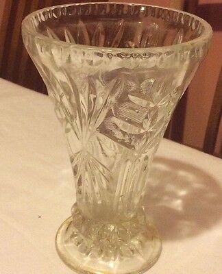 Vintage Depression Pressed 1940s Glass Vase
