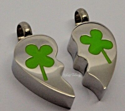 Twin Set Clover Cremation Urn Keepsake Pendant Necklace Memorial Ashes Charm