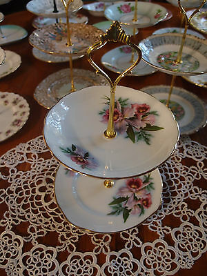 Vintage Duchess Orchid Cake biscuit trinket high tea stand 2 tier