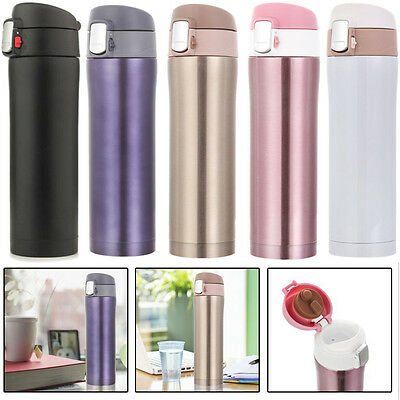 500ML Travel Mug Tea Coffee Water Vacuum Thermos Cup Bottle Stainless Steel