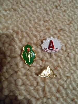 3 Collectable Anzac Badges.[Pins]