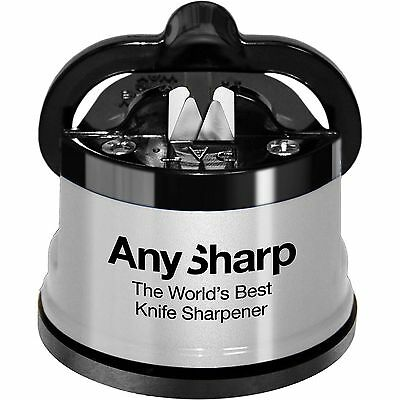 AnySharp Knife Sharpener with PowerGrip Silver Diamond Precision Keep Hands Safe