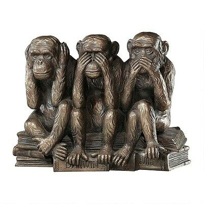Monkey See Hear Speak No Evil Statue Truth Wise Reminder Figure Decor Art Darwin