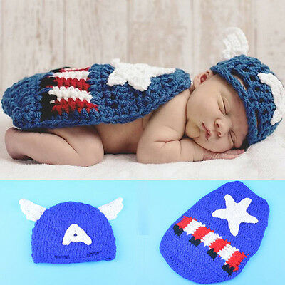 Superhero Baby Captain America Crochet Knitted Costume Photography Prop Outfits