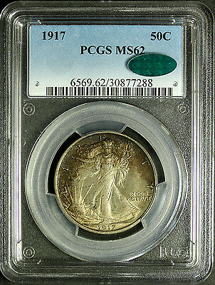 1917 Walking Liberty Half Dollar PCGS MS62, CAC Approved, Toned