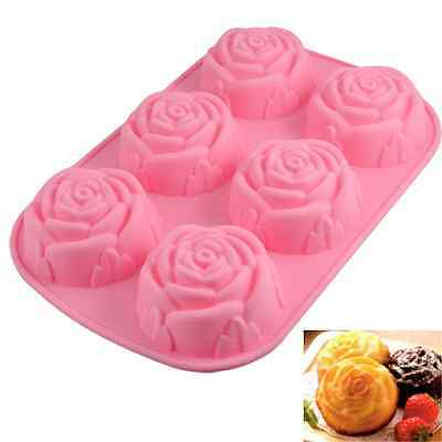6 Rose Silicone Muffin Cup Cake Jelly Pudding Soap Mould Mold Pan Baking Tool DY