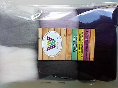 February* Pure Wool Tops for felting 6 colours set, 30g