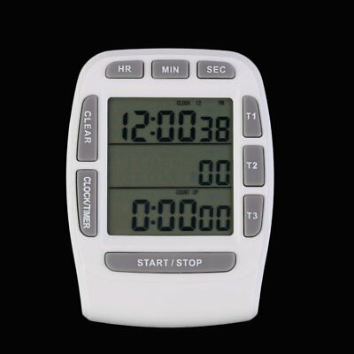 Triple Timer Clock kitchen Cooking 3-Line Alarm LCD Digital Count Down EI